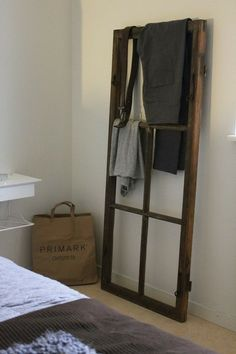 window ladder clothing rack - Could be used for blankets in the living/sitting room. Interior Inspiration, Design Inspiration, Old Windows, Suites, Home And Deco, Home Bedroom, Ladder Decor, Diy Furniture, Home Accessories