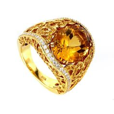 Yellow Sapphire, Diamond & Citrine Engagement Ring