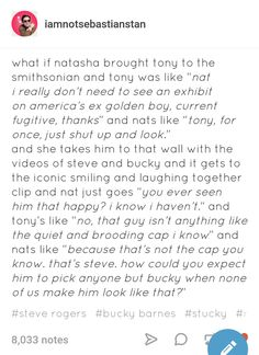 Please Nat don't make me cry. This was just my point for everyone making Steve the villain. Marvel Funny, Marvel Memes, Marvel Dc Comics, Marvel Avengers, Chris Evans, Bucky And Steve, Dc Memes, Stucky, Thats The Way