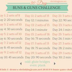 30-Day Buns & Guns Challenge {monthly workout calendar}