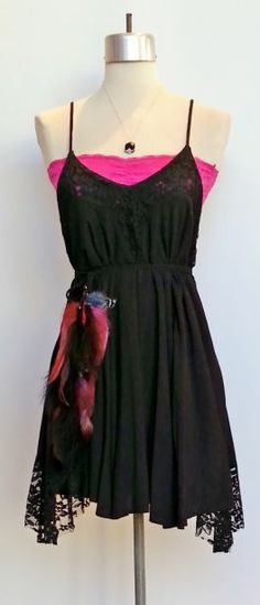 Flirty and flowy A-line dress with lace at bust and hem shown with hot pink lace bandeau. www.facebook.com/shopmudra