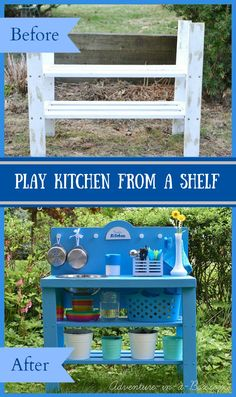 DIY Outdoor Play Kitchen from an Old Shelf: it\'s a very simple DIY project that kids will truly love