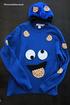 Krümelmonster Kostüm Komplett Pullover Oberteil Mütze Kopfschmuck Männer Jungen Keks Blau Karneval Momentchenmal Blog