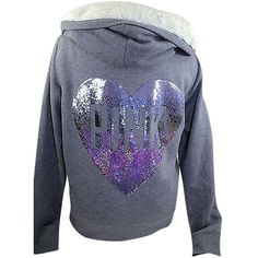 Pre-owned Victorias Secret Pink Fur-lined Hoodie Coat Sequin Heart... ($110) ❤ liked on Polyvore featuring outerwear, jackets, grey, sequin jacket, columbus blue jackets, victoria secret jacket, faux fur lined jacket e puffy jacket