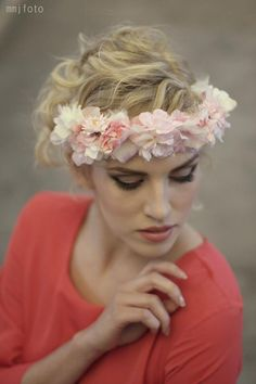 Ozdoby do vlasov - Venček ružovo-biely by Hogo Fogo -