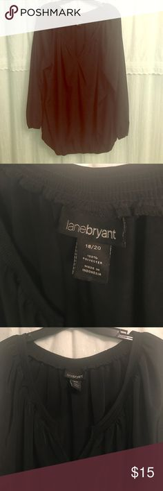 Lane Bryant 18/20 Dressy long sleeve black blouse Perfect to wear to work or dress up for a night out. Size 18/20. Flowy material. Long sleeve with elastic and elastic bottom. Like new condition- only worn a couple times. Lane Bryant Tops Blouses