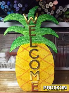 how to tutorial using the Hot Wire Cutter and Smoothfoam to make this WELCOME home decor sign Hula Skirt, Tiki Torches, Dessert Cups, The Power Of Love, Home Decor Signs, Photo Booth Props, Luau, Power Tools, Cupcake Toppers