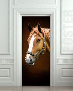 Door STICKER horse mare mustang hoof ride mural decole by Wallnit, $39.99