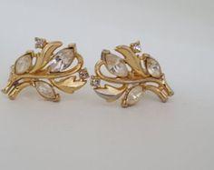 Signed Trifari Vintage Crystal Rhinestone Clip On Earrings - Vintage Trifari Gold Rhinestone Earrings - Vintage Costume Jewelry - 1960 Era - Edit Listing - Etsy