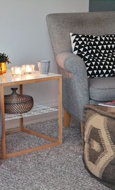 Sitting chair LKHjelle | ikea table | pouf