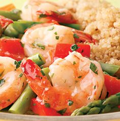 Lemon-Garlic Shrimp and Vegetables is spring in a bowl. Toss with pasta, rice or quinoa for a fabulous meal.