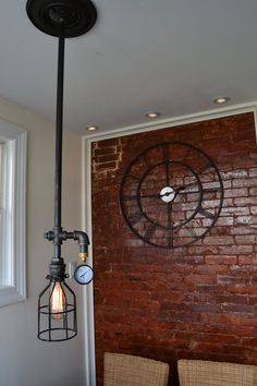 Ceiling Light - Industrial Light with Cage and Gauge (Original) [Edison Bulbs Sold Separately]