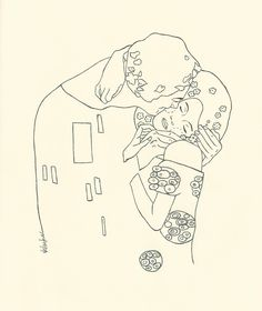Kiss Tattoos, Line Art Tattoos, Friend Tattoos, Cute Tattoos, Small Tattoos, Klimt Tattoo, Gustav Klimt, Kissing Drawing, Aesthetic Tattoo