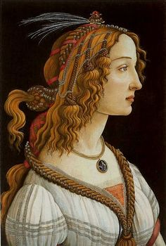'Idealized Portrait of a Lady' or 'Portrait of Simonetta Vespucci as Nymph' by Sandro Botticelli (ca. 1445-1510). Circa 1480,  82 x 54 cm. It's one of the largest 15th century female portraits. She is wearing a hairstyle that can typically be seen on nymphs. The pearls in her hair and braids can also be linked to the nymphs.
