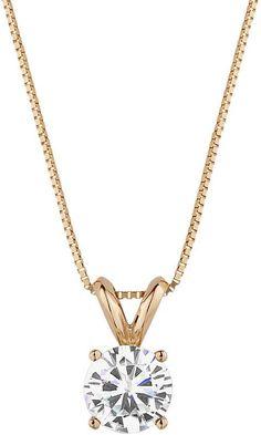 Forever Brilliant 14k Gold 3/4 Carat T.W. Lab-Created Moissanite Pendant