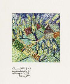 Johannes Itten (Linden 1888 - 1963 Zürich) Feldlandschaft - Aquarell auf Papier, 1955 - 24 x 23 cm.