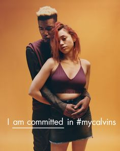 I am committed in #mycalvins. Street cast models Desmond Sam and Rebecca Brosnan, as featured in the Fall 2016 Calvin Klein global campaign.