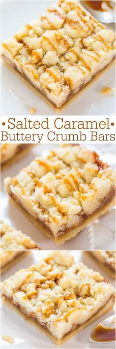 Salted Caramel Buttery Crumb Bars - Easy soft buttery bars that just melt in…
