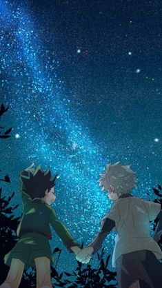 Let's go to see the stars and the moon ♪ one hundred years is fine as long as I am with you ♪ Hunter X Hunter, City Hunter, Hunter Anime, Killua, Hisoka, Anime In, Fan Art Anime, Anime Boy Hair, Anime Girls