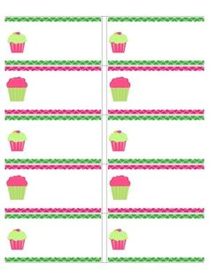 Cupcake Binder Labels Editable For Your Cl