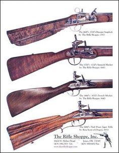 the rifle shoppe for builders & restorers Flintlock Rifle, Black Powder Guns, Long Rifle, Fire Powers, Hunting Guns, Concept Weapons, Custom Guns, Colonial America, Mountain Man
