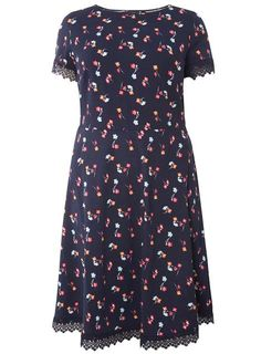 DP Curve Floral Lace Trim Fit And Flare Dress