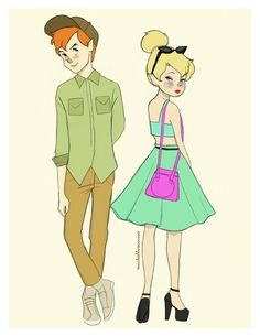 "ladylilyvanity: ""Hipster Peter Pan and Tinkerbell """