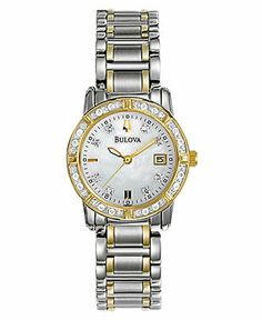 Bulova Watch, Women's Two Tone Stainless Steel Bracelet 26mm 98R107 - All Watches - Jewelry & Watches - Macy's