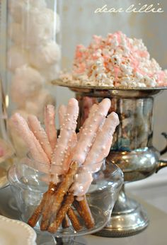 pink-dipped pretzels and icing-drizzled popcorn -