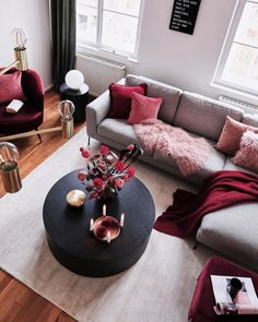 Related posts: Deeply Living Room Furniture Classic 9 Great Ideas of Living Room Apartment Decor Ideas to Copy on Yourself Bohemian Interior Design, [. Living Room Sofa, Home Living Room, Apartment Living, Living Room Designs, Red Living Room Decor, Cozy Living, Small Living, Grey Living Room With Color, Burgundy Living Room