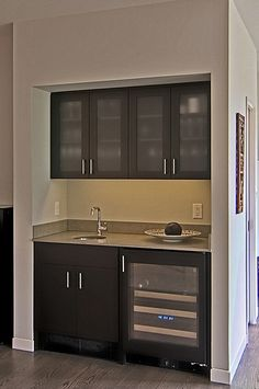 contemporary wet bar & possible coffee bar