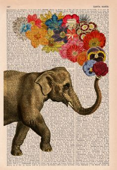 Elephant with Flowers Love book print Elephant in by PRRINT