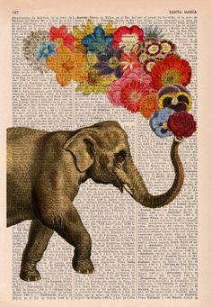 Éléphant avec fleurs - Love book print - éléphant amoureux - imprimé sur la page de livre dictionnaire vintage