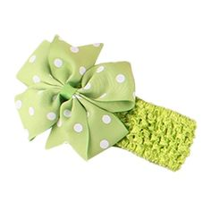 Gotd Cute Babys Headbands Girl's Hairband Flower Head Wear Bow Wave Bandeau (Green) >>> You can get additional details at
