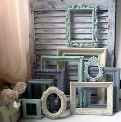 Ornate Vintage Frames Mint Green and Gray Painted Picture Diy Furniture Renovation, Green And Grey, Mint Green, Painted Picture Frames, Accent Wall Colors, Gallery Wall Frames, Light Grey Walls, Blue Pictures, Shabby