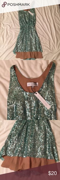 Sea foam green sequin dress new with tags New with tags! Great condition, never worn. Nude peek-a-boo slip underneath Dress the Population Dresses Mini