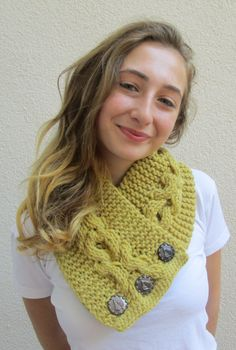 Mustard Lancaster scarf, XOXO scarf, Cable pattern, Chunky scarf, Hand knit scarf, Chunky Knit Cowl, Button Neck Warmer, Soft Wool,