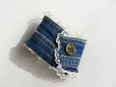 Upcycled Denim Cuff Bracelet made from Recycled Blue Jeans - Simply Sweet. 15.00, via Etsy.