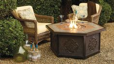 Warm your outdoor conversation area with flickering firelight from our Verona Custom Gas Fire Table. Outdoor Furniture Sets, Gas Firepit, Outdoor Decor, Gas Fire Table, Outdoor Kitchen Design, Frontgate, Wood Deck, Indoor Fireplace, Fire Glass