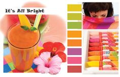 """Download this page in PDF formatThe palette """"It's All Bright"""" consists of colors infused with sun and citrus energy. Happy palette of lemon yellow, lime green, bright orange combines beautifully with vibrant pink , exotic violet and rich persimmon.  Find ColorWall colors for this palette  More Spring Summer 2014 Intimates Inspirations…"""