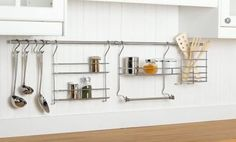 ClosetMaid 3059 Kitchen Organizer Rail System contemporary cabinet and drawer organizers--add the utencil holder to current system. Kitchen Organization Pantry, Wall Organization, Kitchen Storage, Kitchen Utensils, Kitchen Organizers, Cooking Utensils, Organizing Ideas, Kitchen Gadgets, Kitchen Appliances