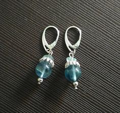 Earrings with beads Fluorite Green Blue Color of the sea Mermaid Russian necklace Free shipping