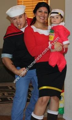 coolest homemade popeye olive oyl and sweet pea group costume ideas