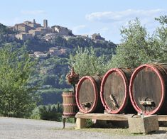 THE TOP TEN TOWNS OF TUSCANY   (image: Wine barrels with the town of Montepulciano, Tuscany, Italy)