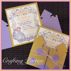 Sofia the First Castle Invitations. Quality cardstock is used to make these beautiful invitations. Visit me Facebook page at www.facebook.com/CraftingPartiesByDianna or on Instagram @craftingparties #sofiathefirst #princesssofia