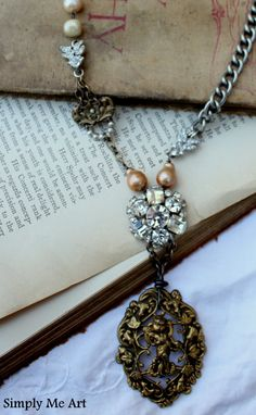 Vintage Rhinestone Brass Finding Pearl and Gemstone by simplymeart, $94.00