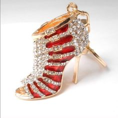 Red Bling Crystal Heel Keychain/Charm