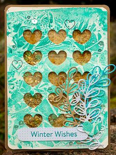 Layers of ink - Heart Shaker Card Tutorial by Anna-Karin Evaldsson. Made with Simon Says Stamp DieCember products. Simon Says Stamp Blog, Slider Cards, Glitter Letters, Interactive Cards, Honeycomb Pattern, Distress Oxide Ink, Winter Cards, Altered Art, Artsy