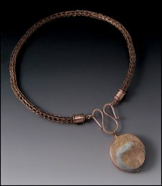 Copper Viking Knit Necklace with Mixed Metal Double Sided Pendant of Minimalist Lines and Zen Ensō