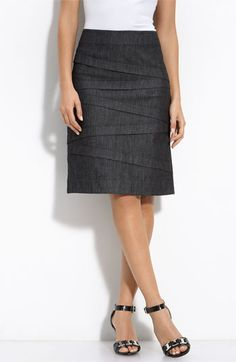 _Straight charcoal skirt, white blouse, ankle strap sandals really make this outfit.  Renee - wear this one!